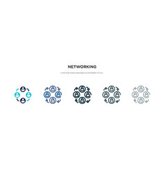 Networking icon in different style two colored vector