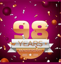 ninety eight years anniversary celebration design vector image