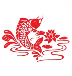 Oriental fish swimming vector