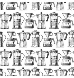 pattern with vintage coffeemaker vector image
