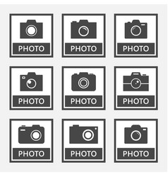 photo digital camera icons and signs set vector image