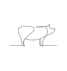 pig one line drawing on white background vector image