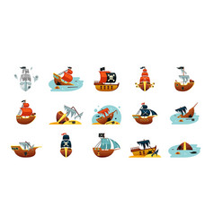 Pirate game ships set sunken play spanish vector
