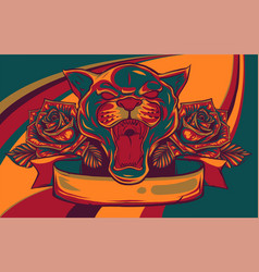 Portrait a grinning panther with a roses vector