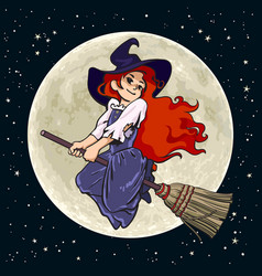 Pretty young witch flying on broom stick on full vector