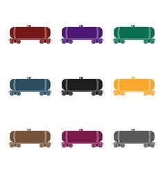 railway tank caroil single icon in black style vector image