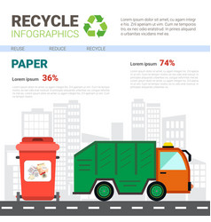 Recycle infographic banner waste truck vector