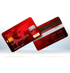 red credit cards front and back eps 8 vector image