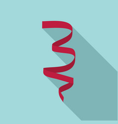 red curl ribbon icon flat style vector image