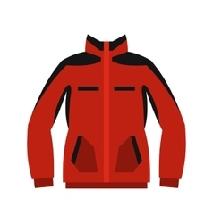 Red sweatshirt with a zipper icon flat style vector image