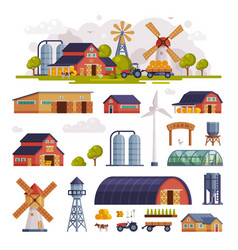 rural buildings and agricultural objects set vector image