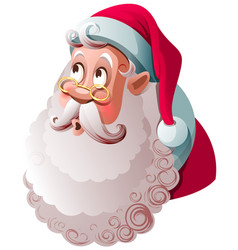 santa claus looks up in surprise merry christmas vector image