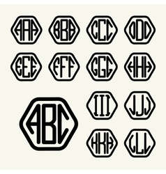 Set 1 template create monogram three letters vector image