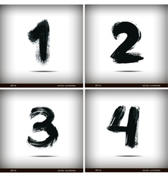 Set of calligraphic watercolor numbers vector image