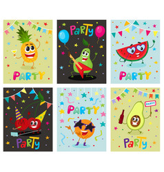 Set of party flyers banners with fruit characters vector