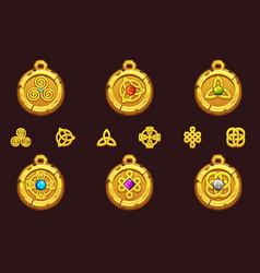 Set talismans with celtic symbols cartoon set vector