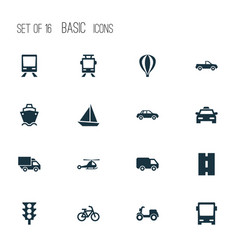 Shipment icons set collection of railway chopper vector