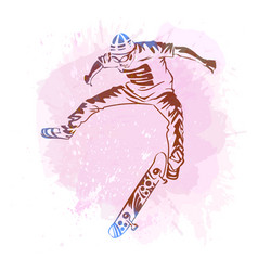 skateboarder jumping on paint spot with splash in vector image