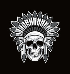 Skull of native american indian warrior black vector