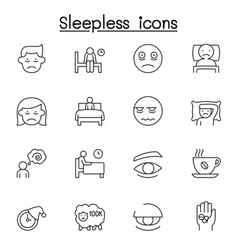 sleepless icons set in thin line style vector image