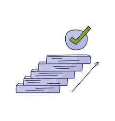Steps up to check mark doodle drawn hand vector