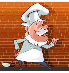 Tells the cartoon cook with a ladle in hand vector