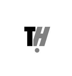 Th t h black white grey alphabet letter logo icon vector