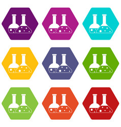 transparent flasks icon set color hexahedron vector image