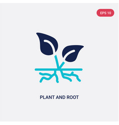two color plant and root icon from ecology vector image