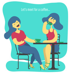 Two women drinking coffee vector