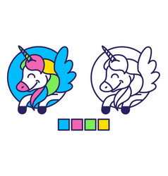 unicorn coloring vector image