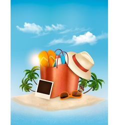 Vacation concept Palm tree photos and a bag full vector