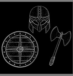 viking armor set - helmet shield and axe hand vector image