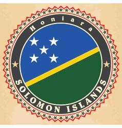 Vintage label cards of Solomon Islands flag vector image