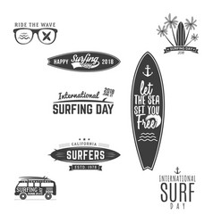 vintage surfing graphics and emblems for web vector image