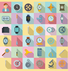 watch repair icons set flat style vector image