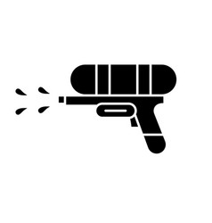 water gun black icon sign on isolated vector image