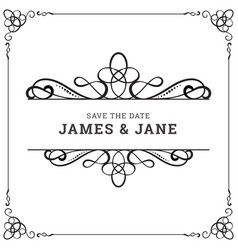 Wedding card frame border vector