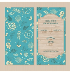 wedding invitation blue vector image