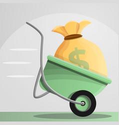 wheelbarrow money bag concept banner cartoon vector image
