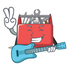 With guitar tool box character cartoon vector