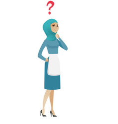 Young muslim thinking cleaner with question mark vector
