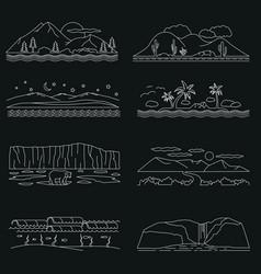 landscapes sketch hand drawn outline doodle vector image