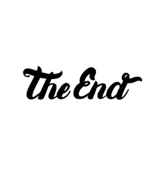Movie ending hand written lettering The End vector image