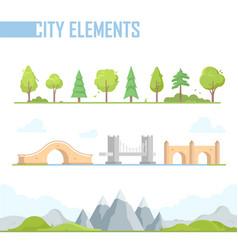 set of city elements - modern cartoon vector image