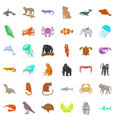 wildlife icons set cartoon style vector image