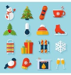 Winter stickers set vector image
