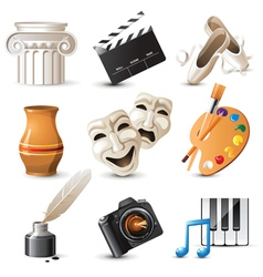 9 highly detailed arts icons vector image vector image