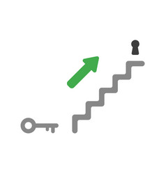 Flat design concept of stairs with keyhole and vector