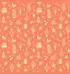 christmas doodles seamless pattern vector image